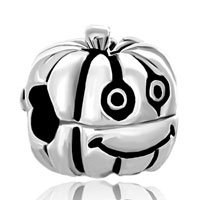 Sterling Silver Jewelry - 925  sterling silver happy jack o lantern halloween pumpkin fit all brands beads charms bracelets Image.