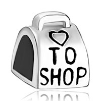 Sterling Silver Jewelry - 925  sterling silver love to shop bag handbag beads charms bracelets fit all brands Image.