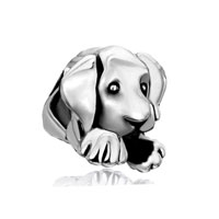 Sterling Silver Jewelry - 925  sterling silver cute sleepy dog animal fit beads charms bracelets all brands Image.
