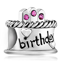 Sterling Silver Jewelry - birthstone charms birthday cake with october birthstone 925 sterling silver beads Image.