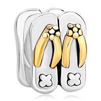 Sterling Silver Jewelry - 925  sterling silver beach slippers golden jewelry gift fits beads charms bracelets fit all brands Image.