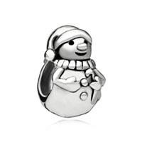 Sterling Silver Jewelry - christmas charms gifts snowman bead 925 sterling silver barrel charm bead Image.