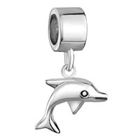 Sterling Silver Jewelry - 925  sterling silver animal dolphin dangle fits beads charms bracelets fit all brands Image.