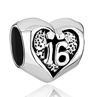 Sterling Silver Jewelry - pugster?  sweet 16  heart 925  sterling silver for beads charms bracelets fit all brands Image.