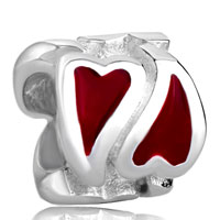 Sterling Silver Jewelry - 925  sterling silver red heart love jewelry fits beads charms bracelets fit all brands Image.