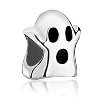Sterling Silver Jewelry - 925  sterling silver cute ghost jewelry hallowmas fits beads charms bracelets fit all brands Image.