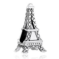 Sterling Silver Jewelry - 925  sterling silver eiffel tower fits beads charms bracelets fit all brands Image.