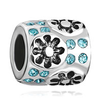 Sterling Silver Jewelry - cylinder with flower and march birthstone aquamarine crystal 925  sterling silver beads charms bracelets fit all brands Image.
