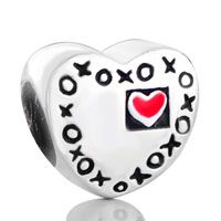 Sterling Silver Jewelry - 925  sterling silver heart engraved xoxo red love jewelry gift fits beads charms bracelets fit all brands Image.
