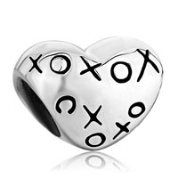 Sterling Silver Jewelry - 925  sterling silver heart hugs &  kisses xoxo love lover fits beads charms bracelets fit all brands Image.
