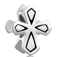 Sterling Silver Jewelry - 925  sterling silver double side celtic cross beads charms bracelets fit all brands Image.
