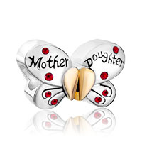 European Beads - mother daughter charms 925 sterling silver butterfly beads Image.