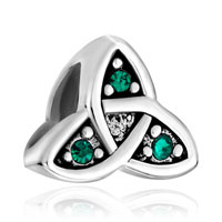 Sterling Silver Jewelry - 925  sterling silver celtic symbol triquetra green crystal beads charms bracelets fit all brands Image.