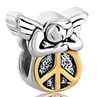 Sterling Silver Jewelry - 925  sterling silver happy sleeping angel on round peace symbol euro jewelry gift fits beads charms bracelets fit all brands Image.
