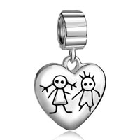 Sterling Silver Jewelry - 925  sterling silver young couple heart love lover fits beads charms bracelets fit all brands Image.