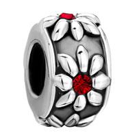 Charms Beads - silver garnet red swarovski crystal flower charms bracelets jewelry Image.