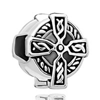 DPC_AM08: silver celtic claddagh irish cross bracelet charm charm bracelet Image.