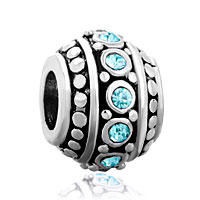 Charms Beads - march birthstone aquamarine blue cz european bead charms bracelets Image.