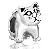 Charms Beads - silver cute cat animal charms for bracelets european bead bracelet Image.