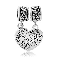 Charms Beads - silver big sister charm bracelet heart dangle european bead charms Image.