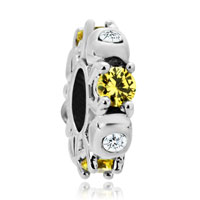 Charms Beads - silver plated topaz yellow white crystal diamond accent charm spacer Image.