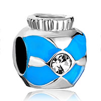 Charms Beads - silver plated small jar blue cross bracelet charms pattern beads Image.