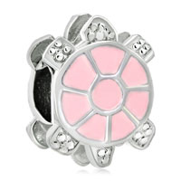 Charms Beads - little cute light pink tortoise european bead charms bracelets Image.