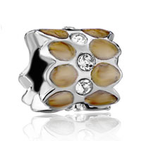 Charms Beads - silver plated brown pattern crystal european bead charms bracelets Image.