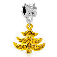 Charms Beads - silver plated golden xmas tree dangle european bead charm bracelets Image.