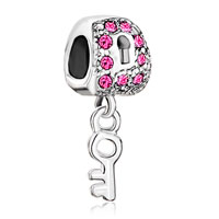 Charms Beads - silver lock dangle key pink crystal european bead charms bracelets Image.