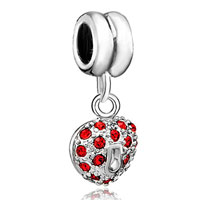 Charms Beads - silver heart charm bracelet january birthstone love european bead Image.