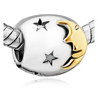 Charms Beads - silver plated starry moonlight night european bead charms bracelets Image.