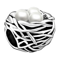 Silver Plated Pearl Charm Bracelet Nest Gorgeous European Bead