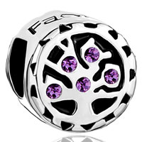Charms Beads - amethyst purple crystal family tree of life for beads charms bracelets fit all brands Image.