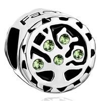 Charms Beads - peridot green swarovski family tree of life bead charm bracelet Image.