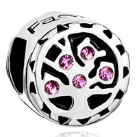 Charms Beads - rose pink crystal family tree of life for beads charms bracelets fit all brands Image.