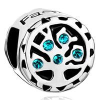 Charms Beads - blue topaz swarovski crystal family tree of life bead charm bracelet Image.