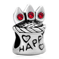 Charms Beads - red swarovski crystal happy birthday cake beads charms bracelets Image.