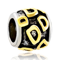 Charms Beads - golden letter initial d classic alphabet fit two tone plated beads charms bracelets all brands Image.