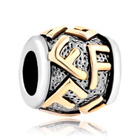 Charms Beads - golden letter initial f classic alphabet fit all brands two tone plated beads charms bracelets Image.