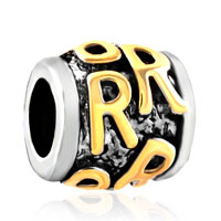 Charms Beads - golden letter initial r classic alphabet fit two tone plated beads charms bracelets all brands Image.