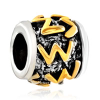 Charms Beads - golden letter initial w classic alphabet fit two tone plated beads charms bracelets all brands Image.