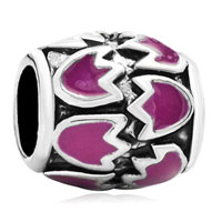 Charms Beads - pink floral european bead charms charms braceletss enamel pattern Image.