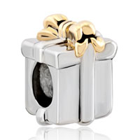 Charms Beads - silver gold bowknot box european infant charm bead charms bracelets Image.