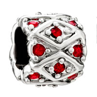 Charms Beads - silver red swarovski crystal bling european bead charm bracelet Image.