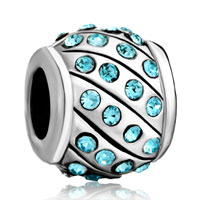 Charms Beads - aquamarine blue swarovski crystal bling beads charms bracelets Image.