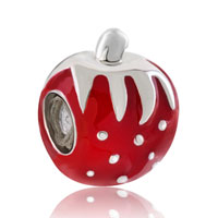 Charms Beads - silver plated big red strawberry european bead charms bracelets Image.