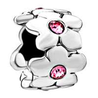 Charms Beads - silver october birthstone flower charms bracelets pattern gorgeous Image.