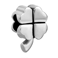 Charms Beads - silver plated lucky four leaf clover european bead charms bracelets Image.