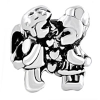 Charms Beads - silver plated kiss heart charm bracelet love lover european bead Image.